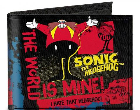 SONIC CLASSIC  Canvas Bi-Fold Wallet - Doctor Eggman Pose THE WORLD IS MINE/I HATE THAT HEDGEHOG Black/Red/Yellow/Blue