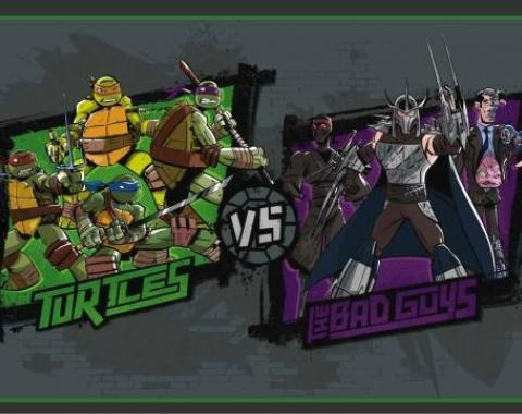 Placemat - New Series TURTLES Group Pose VS THE BAD GUYS Group Pose Grays