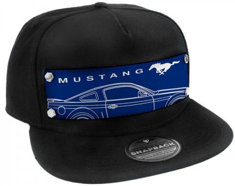 Embellishment Trucker Hat BLACK - Full Color Strap - MUSTANG/Pony Sideview Blueprint Blue/White