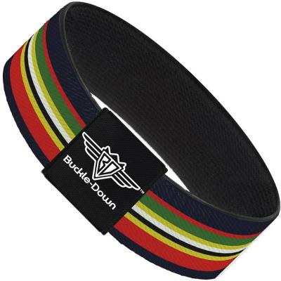 Buckle-Down Elastic Bracelet - Stripes Navy/Red/Yellow/Black/White/Green