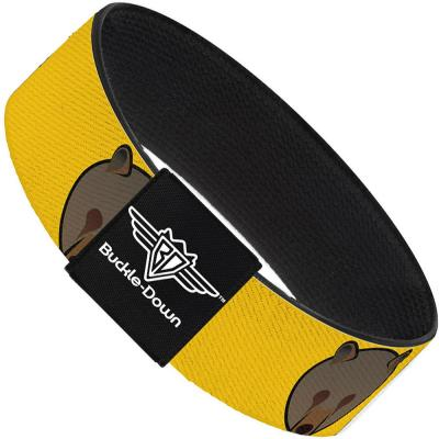 Buckle-Down Elastic Bracelet - Brown Bear Repeat Yellow