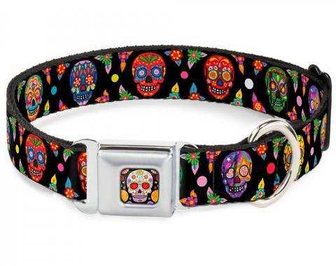 Dog Collar TYA-Sugar Skull Starburst Full Color Black/Multi Color - Colorful Calaveras Black/Multi Color