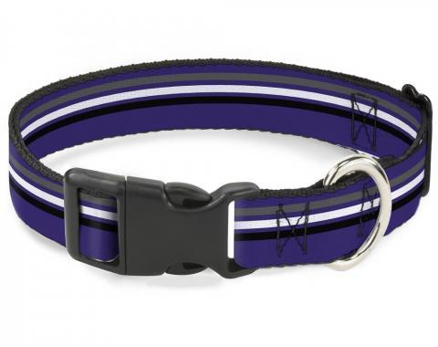 Buckle-Down Plastic Buckle Dog Collar - Racing Stripes Purple/Gray/White/Black