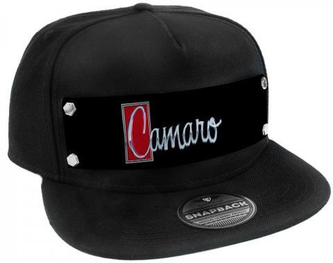 Embellishment Trucker Hat BLACK - Full Color Strap - 1972 CAMARO Script Emblem Black/Silver/Reds
