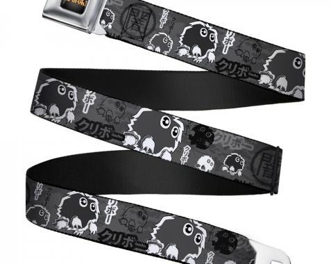 YU-GI-OH! Logo Full Color Black-Fade/Gold Seatbelt Belt - KURIBOH/DARK Kanji Collage Grays/White Webbing