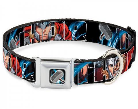 MARVEL AVENGERS   Dog Collar THE-Thor's Hammer Full Color - THOR Poses/Hammer