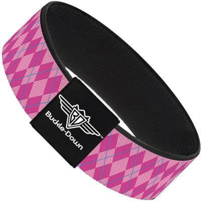 Buckle-Down Elastic Bracelet - Argyle Pink/Fuchsia/Blue
