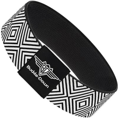 Buckle-Down Elastic Bracelet - Square Lines White/Black