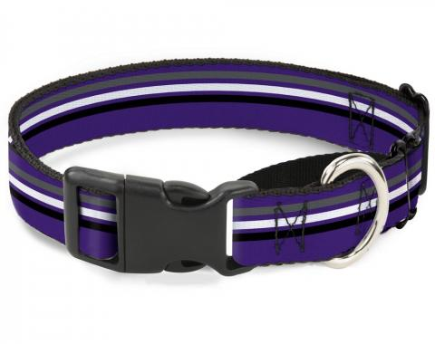 Plastic Martingale Collar - Racing Stripes Purple/Gray/White/Black