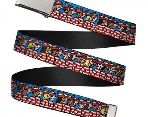 Chrome Buckle Web Belt - The Waldo Watchers Blue Webbing