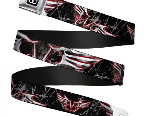 BVB Logo Full Color Black/White Seatbelt Belt - BVB Winged Logo Scattered Weathered Black/Gray/Red/Silver-Fade Webbing