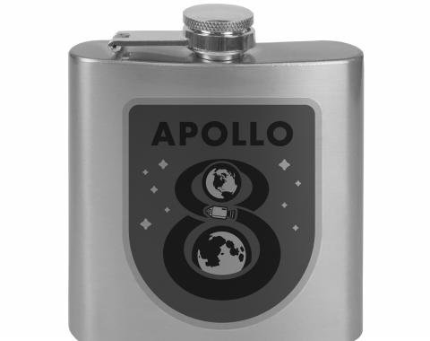 Stainless Steel Flask - 6 OZ - APOLLO 8 Orbit Tonal Grays