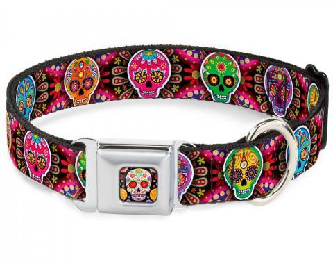 Dog Collar TYA-Sugar Skull Starburst Full Color Black/Multi Color - Six Sugar Skulls Multi Color