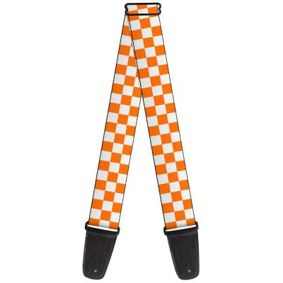 Guitar Strap - Checker White/TN Orange