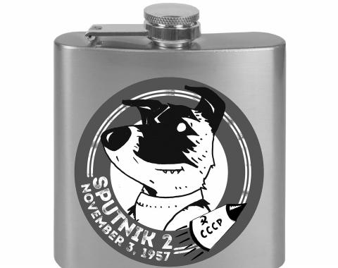 Stainless Steel Flask - 6 OZ - SPUTNIK 2 Laika Dog Tonal Grays