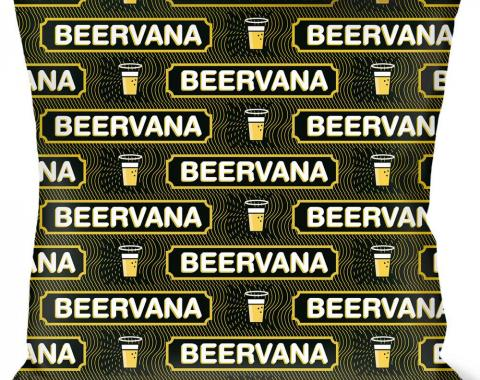 Buckle-Down Throw Pillow - Beer Pint/BEERVANA Rays/Waves Black/Olive