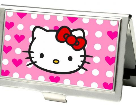 Business Card Holder - SMALL - Hello Kitty w/Dots & Hearts FCG Baby Pink/White/Pink