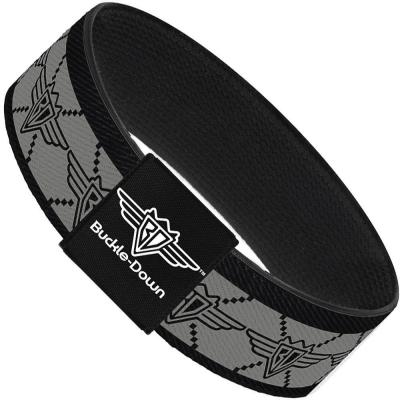 Buckle-Down Elastic Bracelet - BD Monogram2 Gray/Black