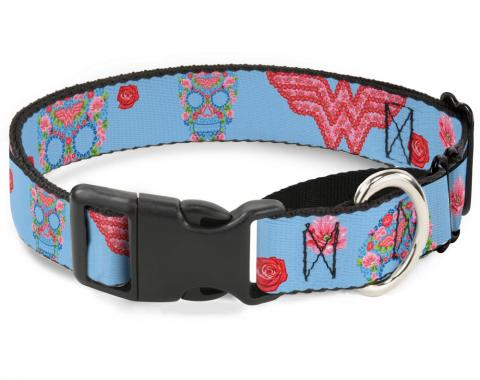 Plastic Martingale Collar - Wonder Woman Logo & Floral Skull Baby Blue/Multi Pastel