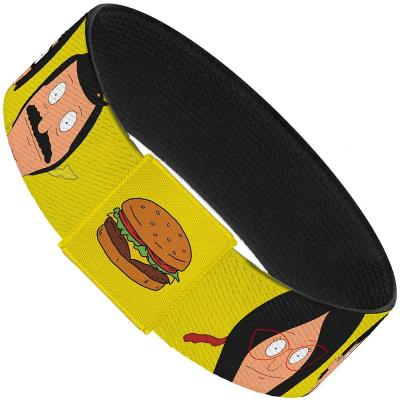 "Elastic Bracelet - 1.0"" - Belcher Family Faces CLOSE-UP Yellow + Hamburger Yellow"