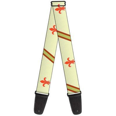 Guitar Strap - Fleur-de-Lis2 Stripes Tan/Orange/Brown/Green