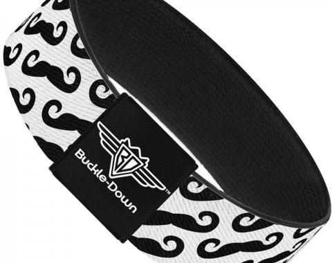 Buckle-Down Elastic Bracelet - Diagonal Handlebar Mustaches White/Black