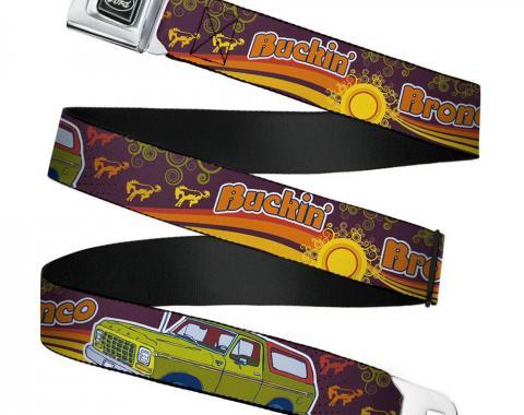 Ford Emblem Seatbelt Belt - Vintage Ford Bronco-BUCKIN' BRONCO Wine/Red/Orange/Green