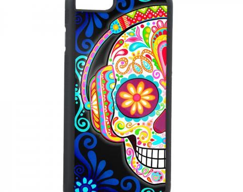 Rubber Cell Phone Case - BLACK - Tranquility Beats Calavera FCG Black/Blues/Multi Color