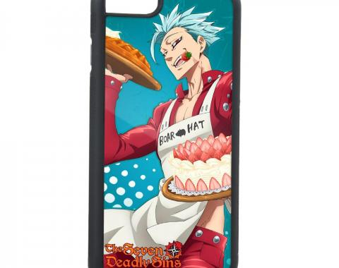 Rubber Cell Phone Case - BLACK - THE SEVEN DEADLY SINS Boar Hat Chef Ban Pose FCG Turquoise/White
