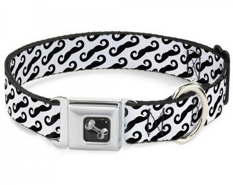 Buckle-Down Seatbelt Buckle Dog Collar - Diagonal Handlebar Mustaches White/Black