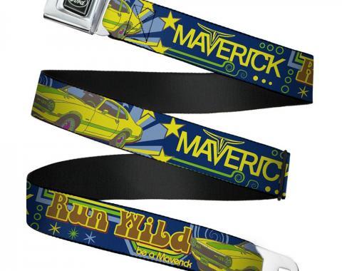 Ford Emblem Seatbelt Belt - Vintage Ford MAVERICK-RUN WILD BE A MAVERICK Blues/Yellows