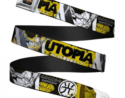 YU-GI-OH! Logo Full Color Black-Fade/Gold Seatbelt Belt - UTOPIA NO. 39 Poses/LIGHT Kanji Black/Yellows/White Webbing