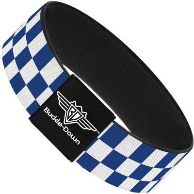 Buckle-Down Elastic Bracelet - Checker BlueKU/White