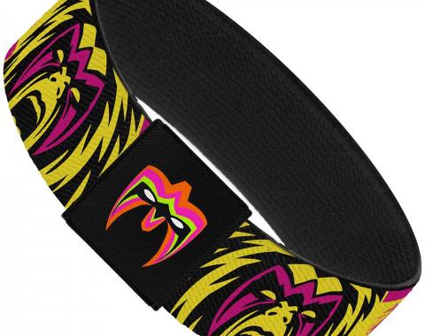 "Elastic Bracelet - 1.0"" - Ultimate Warrior Face CLOSE-UP/WARRIOR Stripe Pinks/Yellows/Black"