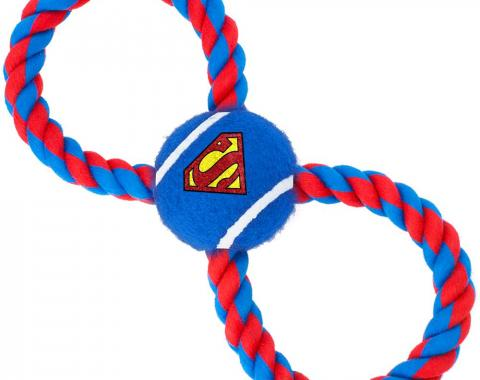 Dog Toy Rope Tennis Ball - Superman Shield Blue + Blue/Red Rope