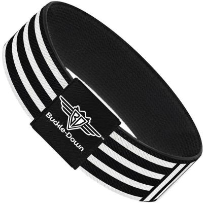 Buckle-Down Elastic Bracelet - Stripe Blocks Black/White