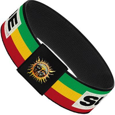 "Elastic Bracelet - 1.0"" - SUBLIME Stripe Black/Green/Yellow/Red"