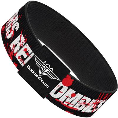 Buckle-Down Elastic Bracelet - ZOMBIES RUINED THIS BELT Black/White/Red Splatter