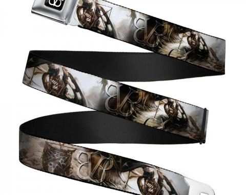 BVB Logo Full Color Black/White Seatbelt Belt - BVB Winged Legion Webbing