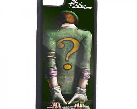 Rubber Cell Phone Case - BLACK - THE RIDDLER Arkham City Back Pose Brushed Silver