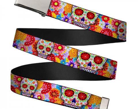 Chrome Buckle Web Belt - Sugar Skull Starburst White/Multi Color Webbing