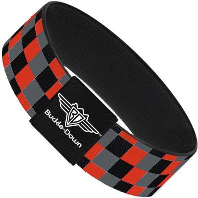 Buckle-Down Elastic Bracelet - Checker Trio Gray/Black/Red