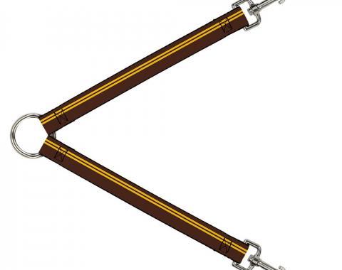 Dog Leash Splitter - Racing Stripe Brown/Gold