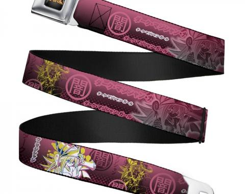 YU-GI-OH! Logo Full Color Black-Fade/Gold Seatbelt Belt - Dark Magician Girl Pose/DARK Kanji Pinks/White/Yellow Webbing