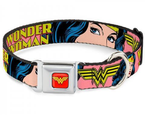 Dog Collar WWA-Wonder Woman Red - WONDER WOMAN w/Face CLOSE-UP Red