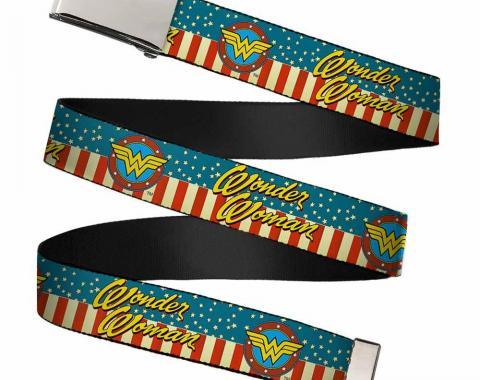 Chrome Buckle Web Belt - WONDER WOMAN/Logo Americana Red/White/Blue/Yellow Webbing