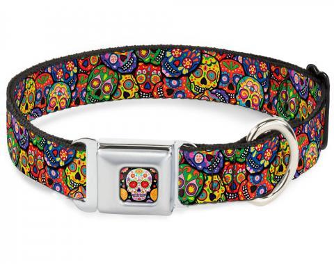 Dog Collar TYA-Sugar Skull Starburst Full Color Black/Multi Color - Colorful Calaveras Stacked Multi Color