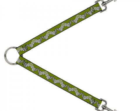 Dog Leash Splitter - Celtic Knot3 Olives/Black/White