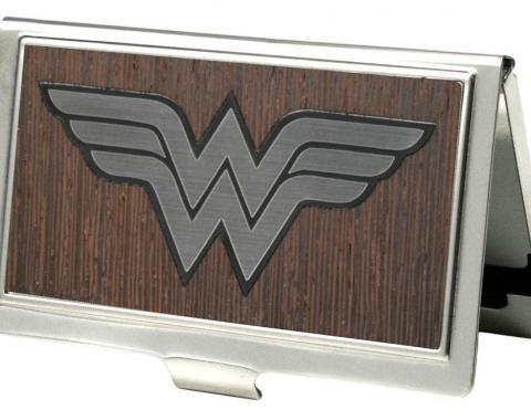 Business Card Holder - SMALL - Wonder Woman Logo Marquetry Black Walnut/Metal