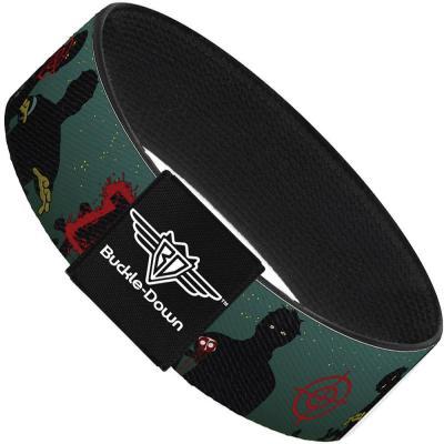Buckle-Down Elastic Bracelet - ZOMBIE KILLER Zombie March Green/Red/Black